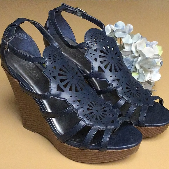 Sbicca Shoes - Sbicca Wedgies, Navy Blue Cut-Out, Size 8.5. EUC